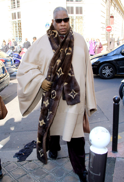 Fashion Editor Andre Leon Talley wearing a scarf from Louis Vuitton's Fall 2011 Collection.