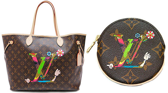 "Louis Vuitton ""Neverfull"" tote and coin purse from Japanese artist Takashi Murakami for Louis Vuittons Spring 2008 Collection"